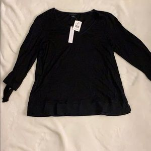 Black Cotton Top - Bow Sleeves